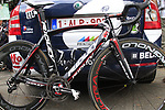 Andre Greipel's (GER) Lotto-Belisol gorilla logoed Ridley Noah  bike before the start of Stage 2 of the 99th edition of the Tour de France 2012, running 207.5km from Vise to Tournai, Belgium. 2nd July 2012.<br /> (Photo by Eoin Clarke/NEWSFILE)