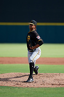 Pittsburgh Pirates pitcher Noe Toribio (50) delivers a pitch during a Florida Instructional League game against the Detroit Tigers on October 6, 2018 at Joker Marchant Stadium in Lakeland, Florida.  (Mike Janes/Four Seam Images)