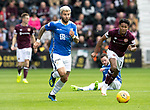 St Johnstone v Hearts…29.09.18…   Tynecastle     SPFL<br />Richard Foster pulls away from Demetri Mitchell<br />Picture by Graeme Hart. <br />Copyright Perthshire Picture Agency<br />Tel: 01738 623350  Mobile: 07990 594431