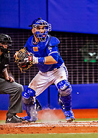 26 March 2018: Toronto Blue Jays catcher Russell Martin in action during an exhibition game against the St. Louis Cardinals at Olympic Stadium in Montreal, Quebec, Canada. The Cardinals defeated the Blue Jays 5-3 in the first of two MLB pre-season games in the former home of the Montreal Expos. Mandatory Credit: Ed Wolfstein Photo *** RAW (NEF) Image File Available ***