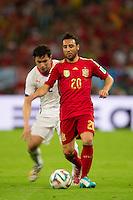 Motion blur of Santi Cazorla of Spain and Eugenio Mena of Chile