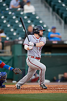 Syracuse Chiefs right fielder Caleb Ramsey (28) bats during a game against the Buffalo Bisons on May 18, 2017 at Coca-Cola Field in Buffalo, New York.  Buffalo defeated Syracuse 4-3.  (Mike Janes/Four Seam Images)