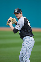 Bryant Bulldogs pitcher James Davitt (4) warms up in the outfield prior to the game against the Coastal Carolina Chanticleers at Springs Brooks Stadium on March 13, 2015 in Charlotte, North Carolina.  The Chanticleers defeated the Bulldogs 7-2.  (Brian Westerholt/Four Seam Images)