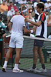 Taylor Fritz (USA) is defeated by Nikoloz Basilashvili (GEO) 6-7 (5-7), 3-6, at the BNP Paribas Open being played at Indian Wells Tennis Garden in Indian Wells, California on October 16,2021: ©Karla Kinne/Tennisclix/CSM