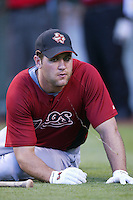 Lance Berkman of the Houston Astros during batting practice before a game from the 2007 season at Angel Stadium in Anaheim, California. (Larry Goren/Four Seam Images)