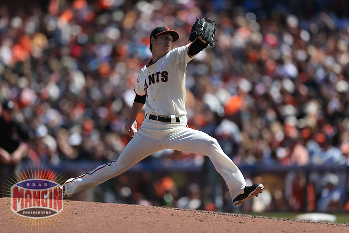 SAN FRANCISCO, CA - MAY 12:  Tim Lincecum #55 of the San Francisco Giants pitches against the Atlanta Braves during the game at AT&T Park on Sunday, May 12, 2013 in San Francisco, California. Photo by Brad Mangin