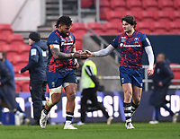 1st January 2021; Ashton Gate Stadium, Bristol, England; Premiership Rugby Union, Bristol Bears versus Newcastle Falcons; Nathan Hughes celebrates with Piers O'Conor of Bristol Bears on scoring  a try