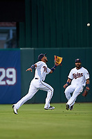 Minnesota Twins left fielder Eddie Rosario (20) catches a fly ball as Darin Mastroianni (21) looks on during a Spring Training game against the Boston Red Sox on March 16, 2016 at Hammond Stadium in Fort Myers, Florida.  Minnesota defeated Boston 9-4.  (Mike Janes/Four Seam Images)