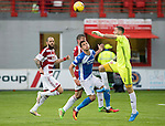 Hamilton Accies v St Johnstone…25.09.16.. New Douglas Park   SPFL<br />Remi Matthews is quick out of his box to head the ball clear from Graham Cummins<br />Picture by Graeme Hart.<br />Copyright Perthshire Picture Agency<br />Tel: 01738 623350  Mobile: 07990 594431