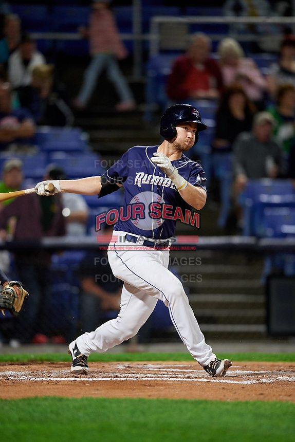 Binghamton Rumble Ponies catcher Patrick Mazeika (11) follows through on a swing during a game against the Portland Sea Dogs on August 31, 2018 at NYSEG Stadium in Binghamton, New York.  Portland defeated Binghamton 4-1.  (Mike Janes/Four Seam Images)
