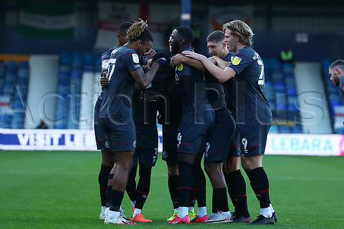31st October 2020; Kenilworth Road, Luton, Bedfordshire, England; English Football League Championship Football, Luton Town versus Brentford; Rico Henry of Brentford celebrates his goal with team mates for 0-1 in the 20th minute