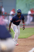 Lowell Spinners designated hitter Brandon Phillips (7) leads off third base in the top of the seventh inning during a game against the Auburn Doubledays on July 13, 2018 at Falcon Park in Auburn, New York.  Phillips was promoted to Triple-A Pawtucket after the game; the former All-Star signed a minor league free agent deal with the Boston Red Sox June 27th and played six games with the Spinners batting .318 with one home run and 7 RBI's.  Lowell defeated Auburn 8-5 in ten innings (Mike Janes/Four Seam Images)