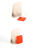 Teabags on white background