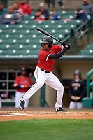 Rochester Red Wings LaMonte Wade Jr (4) bats during an International League game against the Charlotte Knights on June 16, 2019 at Frontier Field in Rochester, New York.  Rochester defeated Charlotte 11-5 in the first game of a doubleheader that was a continuation of a game postponed the day prior due to inclement weather.  (Mike Janes/Four Seam Images)