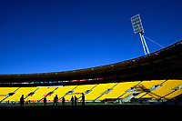 The Black Caps warm up before during the 4th international men's T20 cricket match between the New Zealand Black Caps and Australia at Sky Stadium in Wellington, New Zealand on Friday, 5 March 2021. Photo: Dave Lintott / lintottphoto.co.nz