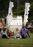Pictured L-R: Wendy Davies with grandchildren Jake, 4, Libby, 6, and husband Royston Davies Saturday 13 August 2016<br />