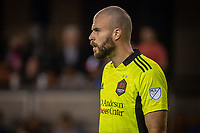 SAN JOSE, CA - JULY 24: Marko Maric #1 of the Houston Dynamo watches his teammates during a game between San Jose Earthquakes and Houston Dynamo at PayPal Park on July 24, 2021 in San Jose, California.