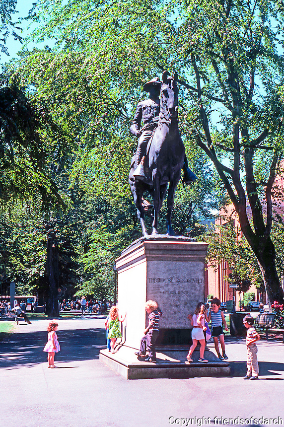 """Portland: Equestrian Statue--""""Theodore Roosevelt, Rough Rider"""" by A. Phimister Procteor, 1922.  The park blocks--between Jefferson & Madison."""