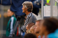 14 MAY 2011: USA Women's National Team head coach Pia Sundhage watches the game during the International Friendly soccer match between Japan WNT vs USA WNT at Crew Stadium in Columbus, Ohio.