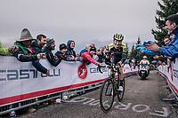 Jack Haig (AUS/Mitchelton Scott) smiling his way up the infamous Monte Zoncolan (1735m/11%/10km)<br /> <br /> stage 14 San Vito al Tagliamento – Monte Zoncolan (186 km)<br /> 101th Giro d'Italia 2018