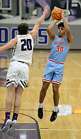 Fort Smith Southside's Yazed Taforo (30) takes a shot Tuesday, Jan. 12, 2021, as Fayetteville's Matt Wayman (20) reaches to block during the first half of play in Bulldog Arena. Visit nwaonline.com/210113Daily/ for today's photo gallery. <br /> (NWA Democrat-Gazette/Andy Shupe)