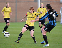 20140502 - VARSENARE , BELGIUM : Lierse's Lien Mermans (l) pictured during the soccer match between the women teams of Club Brugge Vrouwen  and WD Lierse SK  , on the 26th matchday of the BeNeleague competition on Friday 2 May 2014 in Varsenare .  PHOTO DAVID CATRY