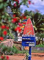 "Colorful, distinctive ""Four Fins Surf Camp"" mailbox of the late Jaiom Berger, Lahaina, Maui, circa 1995."