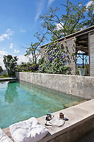 A concrete-sided outdoor swimming pool is flanked by a terrace screened with rattan blinds