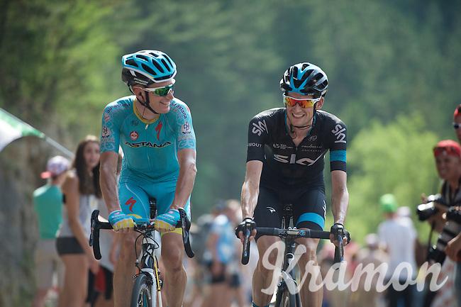 Lieuwe Westra (NLD/Astana) & Wout Poels (NLD/SKY) relaxing on the final climb up the Cote de la Croix Neuve (2C/1055m/3km/10.1%)<br /> <br /> stage 14: Rodez - Mende (178km)<br /> 2015 Tour de France