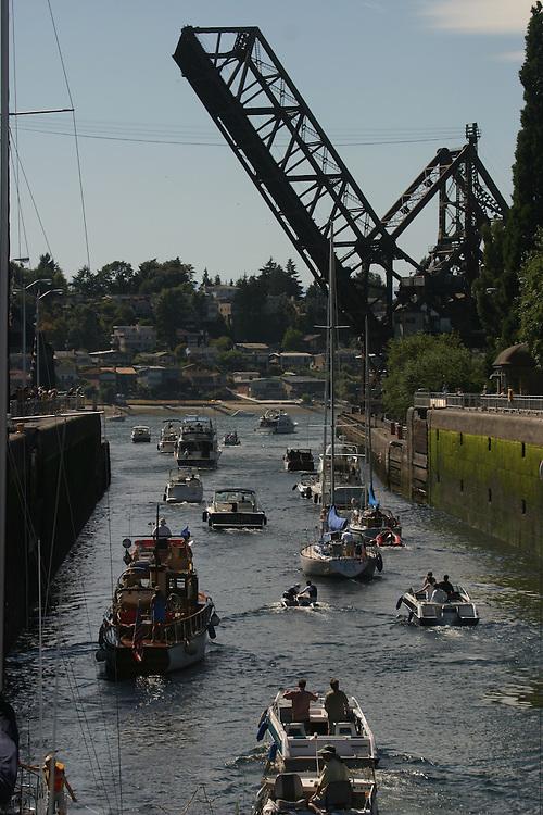 Seattle, Hiram Chittenden Locks, Ballard Neighborhood, Lake Washington Ship Canal; waterfront;