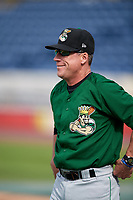 Clinton LumberKings Pat Shine (16) before a game against the West Michigan Whitecaps on May 3, 2017 at Fifth Third Ballpark in Comstock Park, Michigan.  West Michigan defeated Clinton 3-2.  (Mike Janes/Four Seam Images)