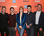 """John Logan, Kyle McArthur, Kate Baldwin, Bryce Pinkham, Jason Moore during the Sneak Peak Meet the cast and creative team of the World Premiere Musical """"Superhero"""" on January 16, 2019 at the Green Room 42 in New York City."""