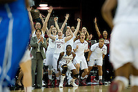 FRESNO, CA--The Cardinal bench celebrates a three point shot en route to a 81-69 win over Duke at the Save Mart Center for the West Regionals Championship of the 2012 NCAA Championships. The Cardinal advances to the Final Four in Denver, facing Baylor in the semifinals.