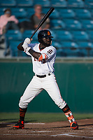 San Jose Giants left fielder Jacob Heyward (33) at bat during a California League game against the Modesto Nuts at San Jose Municipal Stadium on May 15, 2018 in San Jose, California. Modesto defeated San Jose 7-5. (Zachary Lucy/Four Seam Images)