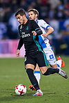 Theo Hernandez (L) of Real Madrid battles for the ball with Darko Brasanac of CD Leganes during the Copa del Rey 2017-18 match between CD Leganes and Real Madrid at Estadio Municipal Butarque on 18 January 2018 in Leganes, Spain. Photo by Diego Gonzalez / Power Sport Images