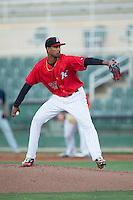 Kannapolis Intimidators starting pitcher Luis Martinez (29) in action against the Hagerstown Suns at Kannapolis Intimidators Stadium on May 4, 2016 in Kannapolis, North Carolina.  The Intimidators defeated the Suns 7-4.  (Brian Westerholt/Four Seam Images)