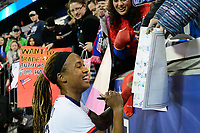 HARRISON, NJ - MARCH 08: Jessica McDonald #22 of the United States signs autographs during a game between Spain and USWNT at Red Bull Arena on March 08, 2020 in Harrison, New Jersey.