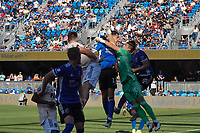 SAN JOSE, CA - AUGUST 8: Tomas Romero #30 of Los Angeles FC punches a ball away from Nathan Cardoso #13 of the San Jose Earthquakes during a game between Los Angeles FC and San Jose Earthquakes at PayPal Park on August 8, 2021 in San Jose, California.