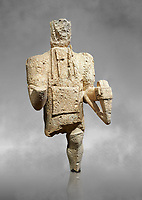 9th century BC Giants of Mont'e Prama  Nuragic stone statue of an archer, Mont'e Prama archaeological site, Cabras. Museo archeologico nazionale, Cagliari, Italy. (National Archaeological Museum) - Grey Art Background