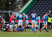 13th February 2021; Twickenham Stoop, London, England; English Premiership Rugby, Harlequins versus Leicester Tigers; Calum Green of Leicester Tigers scores his try