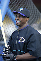 Junior Spivey of the Arizona Diamondbacks before a 2002 MLB season game against the Los Angeles Dodgers at Dodger Stadium, in Los Angeles, California. (Larry Goren/Four Seam Images)