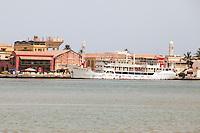 Senegal, Saint Louis.  The Bou El-Mogdad offers leisure cruises on the River Senegal.
