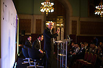 © Joel Goodman - 07973 332324 - all rights reserved . No onward sale/supply/syndication permitted . 28/07/2016 . Manchester , UK . Architect KEN SHUTTLEWORTH speaks . Launch of the St Michael's city centre development , at the Lord Mayor's Parlour in Manchester Town Hall . Backed by The Jackson's Row Development Partnership (comprising Gary Neville , Ryan Giggs and Brendan Flood ) along with Manchester City Council , Rowsley Ltd and Beijing Construction and Engineering Group International , the Jackson's Row area of the city centre will be redeveloped with a design proposed by Make Architects . Photo credit : Joel Goodman