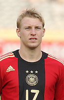 Germany's Patrick Funk (17) stands on the field before the match against Brazil during the FIFA Under 20 World Cup Quarter-final match at the Cairo International Stadium in Cairo, Egypt, on October 10, 2009. Germany lost 2-1 in overtime play.