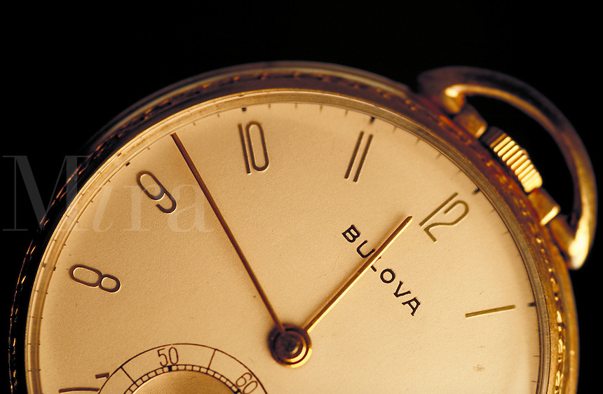 Bulova gold pocket watch-detail. United States.