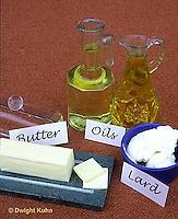 JA04-044x  Food - high in lipids - oils, butter, shortening (lard)
