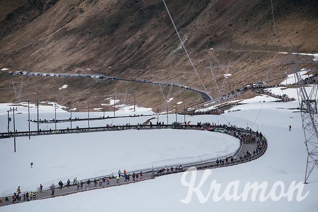 first grupetto coming up the Passo dello Stelvio (alt: 2758m)<br /> <br /> Stage 16: Rovett › Bormio (222km)<br /> 100th Giro d'Italia 2017