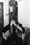 """Jimmy McCulloch Paul and Linda McCartney Wings Tour 1975.Green Room Liverpool. The photographs from this set were taken in 1975. I was on tour with them for a children's """"Fact Book"""". This book was called, The Facts about a Pop Group Featuring Wings. Introduced by Paul McCartney, published by G.Whizzard. They had recently recorded albums, Wildlife, Red Rose Speedway, Band on the Run and Venus and Mars. I believe it was the English leg of Wings Over the World tour. But as I recall they were promoting,  Band on the Run and Venus and Mars in particular."""