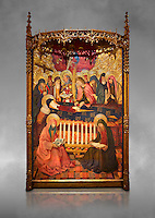 Gothic altarpiece of the Dormition of the Madonna (Dormicio de la Mare de Dieu) by Pere Garcia de Benavarri, circa 1460-1465, tempera and gold leaf on wood.  National Museum of Catalan Art, Barcelona, Spain, inv no: MNAC  64040. Against a grey art background.
