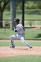 AZL Padres 2 second baseman Tucupita Marcano (1) follows through on his swing during an Arizona League game against the AZL Dodgers at Camelback Ranch on July 4, 2018 in Glendale, Arizona. The AZL Dodgers defeated the AZL Padres 2 9-8. (Zachary Lucy/Four Seam Images)